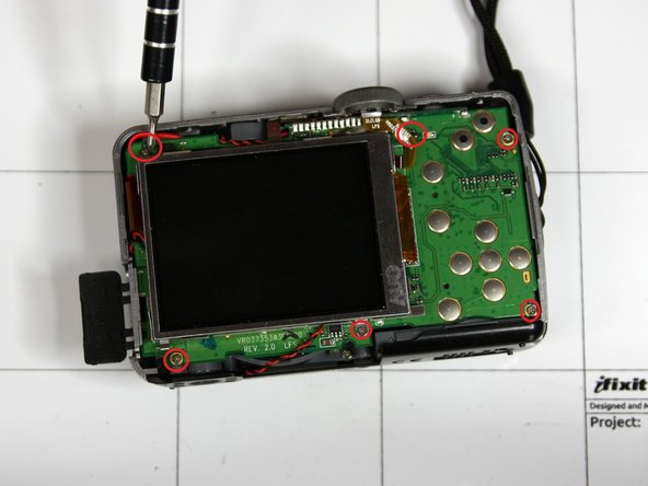 The second picture outlines where you can locate all the surface screws. Note that these will not be the only screws needed to be taken off to remove the circuit board.