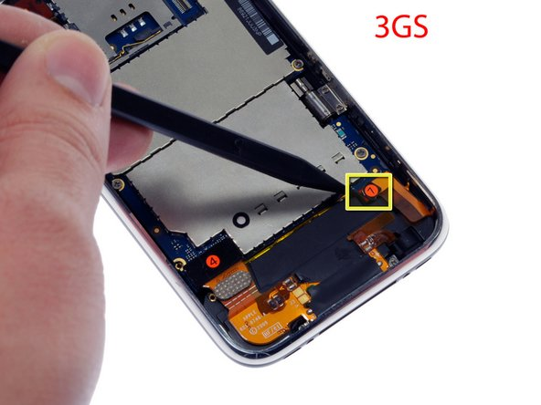 "If you have an iPhone 3GS, refer to the second picture and use a spudger to disconnect the ribbon cable labeled ""7."""