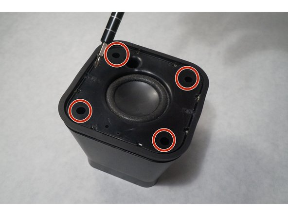 Remove the four screws that are inside the holes on the top of the speaker.