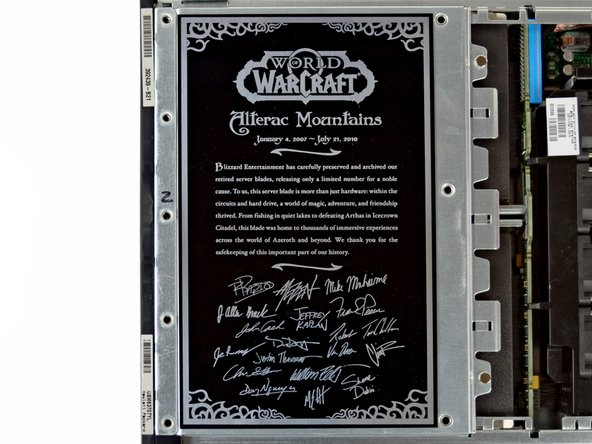 This particular server blade  is an HP ProLiant BL25p that Blizzard decked out with a commemorative plate. Wow.