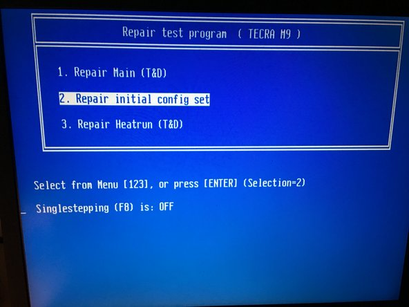 Boot your Tecra M5 from the maintenance floppy.  Select option 2: Repair initial config set.  This is supposed to shut down your system when it finishes, but it failed to terminate on my laptop.  Eventually I removed the floppy and rebooted my Tecra M5 laptop.