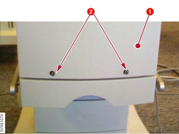 Rimuovi le due viti (2) che tengono chiuso il pannello anteriore (1).