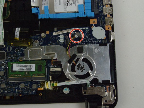 Disconnect the fan wire from the motherboard.