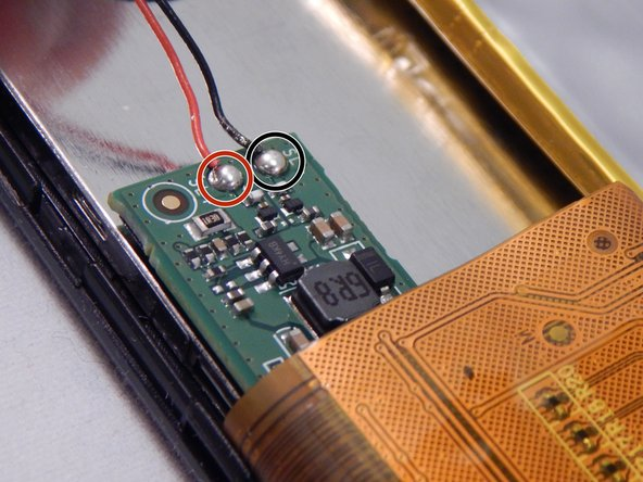 Image 1/1: Desolder the black wire to the negative (-).