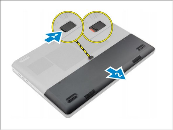 Slide the release latch to unlock the battery cover [1].