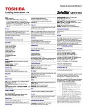 Satellite M40 Series - Spec Sheet