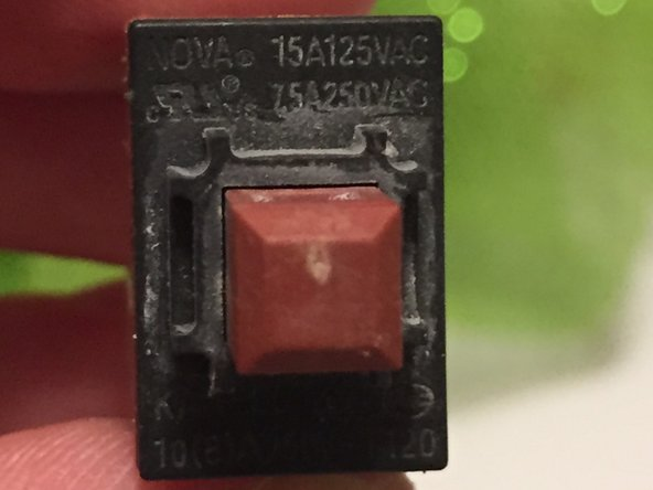 With the switch removed, the make and model are identified.  The switch is a NOVA KAN-L5 SPST pushbutton switch.  This appears to be an imported component from China.  I could not find much documentation on the internal details.