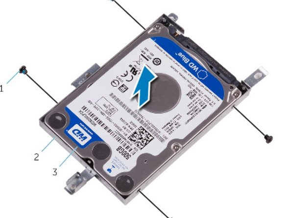 Align the screw holes on the NEW hard drive with the screw holes on the hard-drive  bracket.