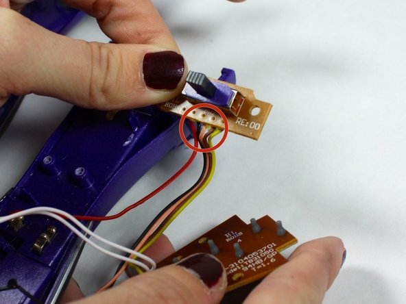 Remove On/Off Switch Board from its holding and detach the wires.