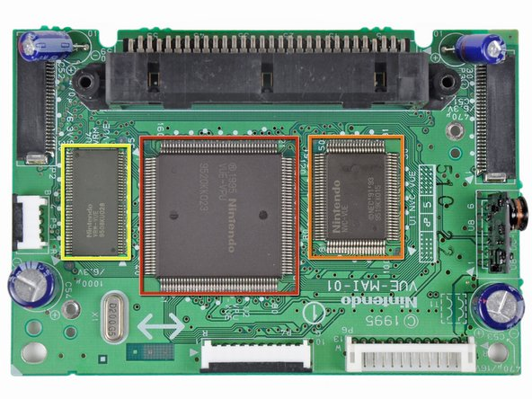 The main board is responsible for taking inputs from the controller, loading game cartridge data, sending audio data to the speaker amplifier, and driving the LED displays. The silk screened chips include: