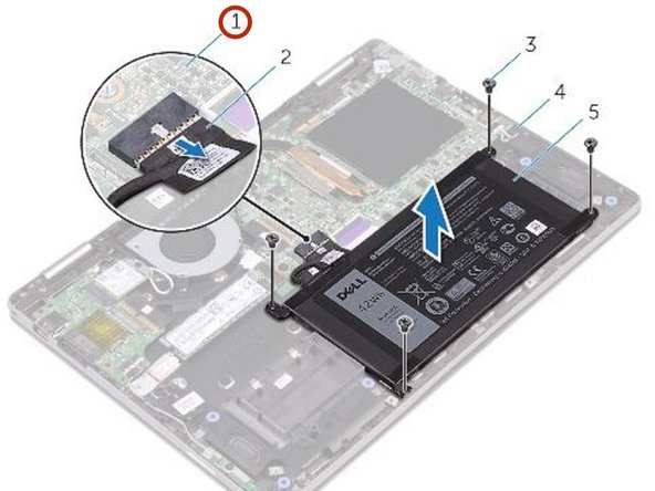 Disconnect the battery cable from the system board.