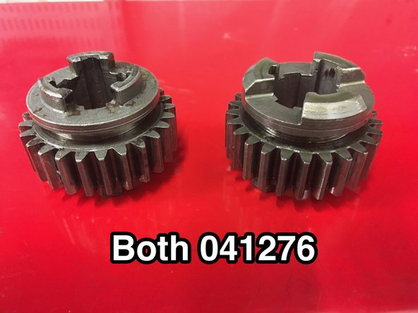 Image 3/3: There appear to be two different types of layshaft 2nd/early mainshaft 3rd gear. They seem interchangeable and appear to have have the same part number 041276. The one on the right looks to be stronger, so is presumably a later type.