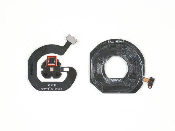 On board is a single Texas Instruments TI8AWKJYP SN1712025 ultra-small, integrated AFE (analog front end) heart rate sensor chip