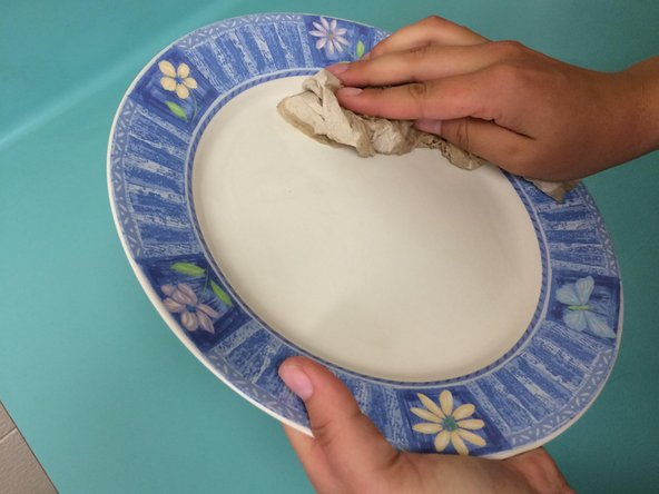 Now, grab a paper towel and dry your plate by wiping.