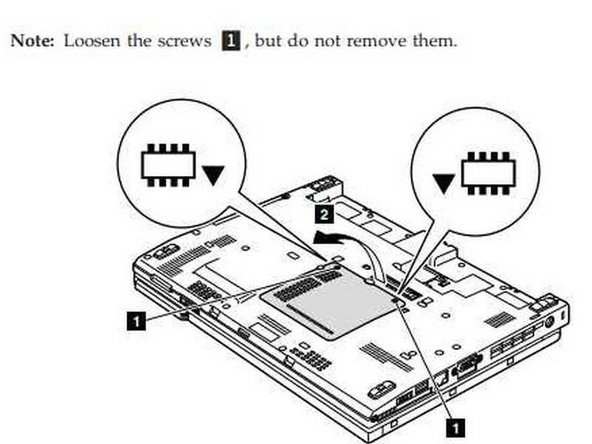 1. Unscrew the two phillips #1 size screws that hold the panel to access the two memory modules.