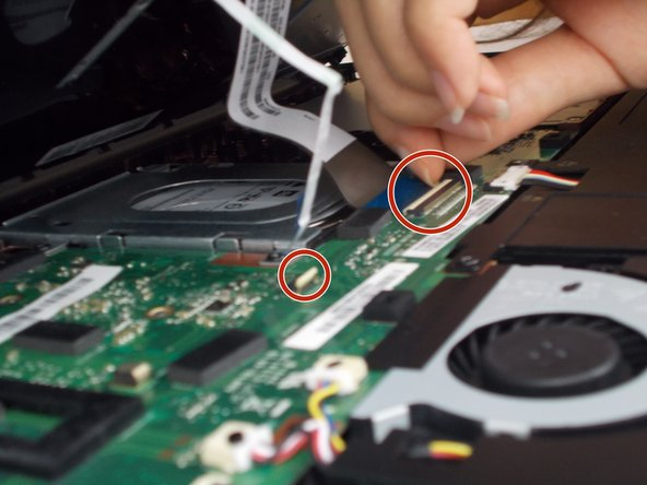 There are two small keyboard cables connecting the keyboard to the laptop. Carefully remove these by popping up the white clips holding them in place and slide the connector out.