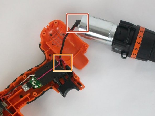 Check if the connection from the motor to the trigger is connected.
