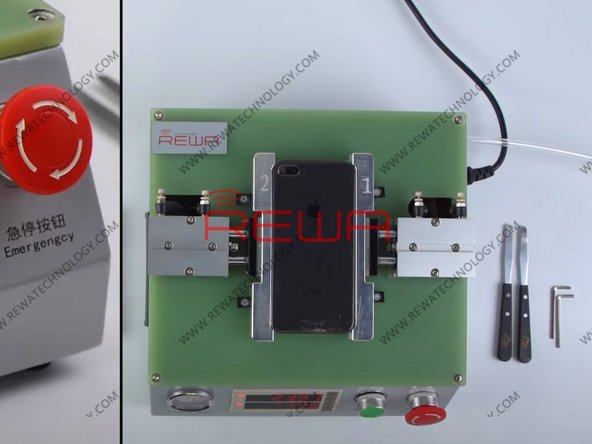 Place iPhone 8 Plus back glass assembly into the corresponding mold. Press 'Up'. With the temperature rising to 240℃, press 'Start'. The back glass assembly is clamped tightly by the mold.
