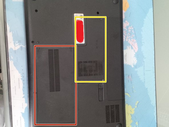 To begin with, remove the battery and remove the 2 panels at the bottom of the laptop.