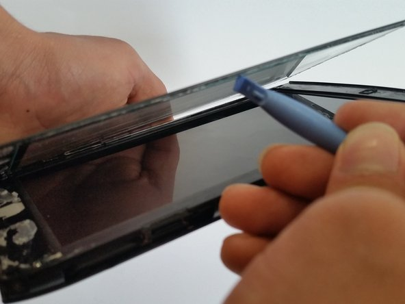 Start with a plastic opening tool along the top perimeter of the tablet, the thin line, and remove the screen.