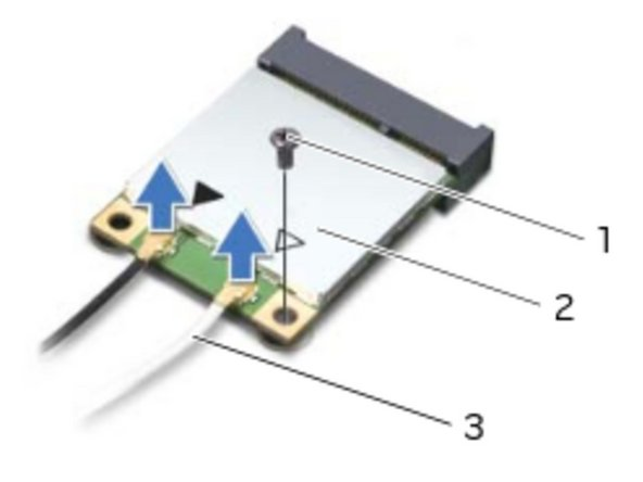 Connect the antenna cables to the connectors on the wireless mini-card.
