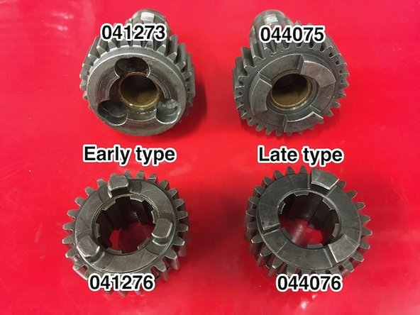 There are three different types of 3rd mainshaft/2nd layshaft gear. They are generally interchangeable, but if you have the later output gear then you should use 044706 on the mainshaft.