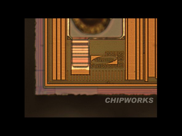 This is the SDRAM inside the A4. Yes, that's a Samsung logo. No, that doesn't mean Samsung designed the A4—just the RAM.
