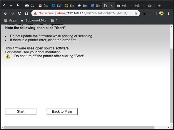 """Scroll to bottom of page to expose the """"Start/Back to Main"""" buttons. Press """"Start"""" if you are ready to attempt the firmware upgrade. Otherwise you can just close the browser tab/window if you have changed your plans."""