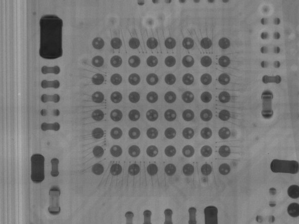 Our X-ray imagery shows some quality issues in this chip's solder joints. Empty spaces, known as voiding, could be evidence of low quality standards, or a rushed product release. Could issues with the AirPod case be what delayed release?
