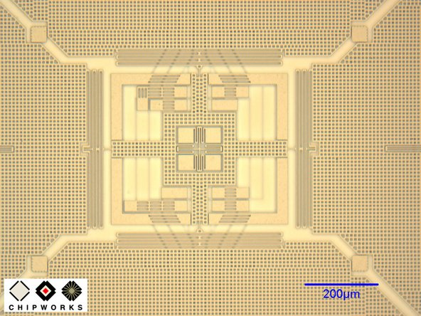 "Image 2/2: The GK10A is comprised of a plate, called the ""proof mass,"" that vibrates ([link