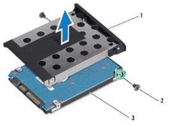 Align the screw holes on the hard drive bezel with the holes on the NEW hard drive.