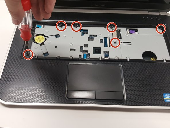 Remove the 6 palm rest screws using the 2.0mm phillips head screwdriver.