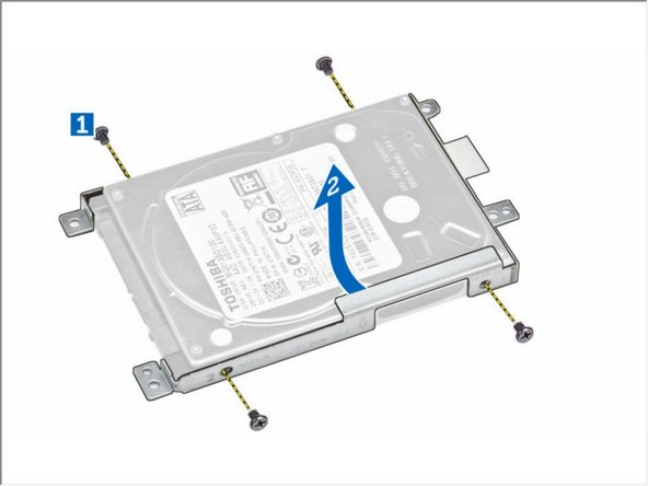 Remove the screws that secure the hard drive to the bracket.