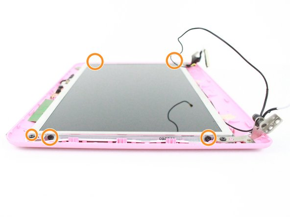 Remove the four 3mm Phillips screws on the side of the display panel securing it to the display cover.