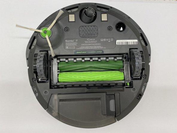 Flip the iRobot Roomba i7 so that the underside is facing upwards.