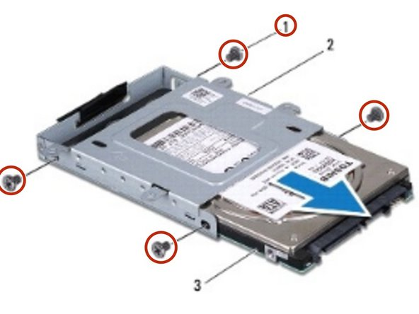 Remove the four screws that secure the hard drive to the hard drive cage.