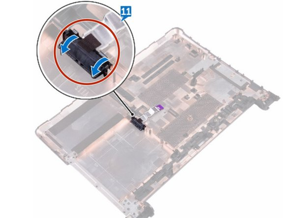 Slide the optical-drive cable into the connector on the system board and press  down the latch to secure the cable.