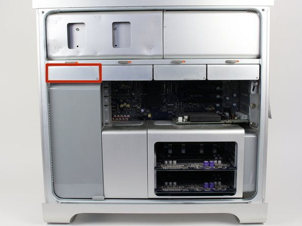 Locate the desired hard drive bay after opening the case .