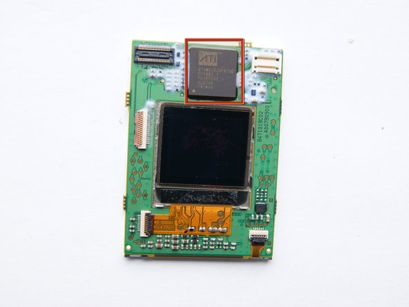 Image 2/2: an ATI Imageon chip! It's a mulitmedia co-processor, it is used for record video and mobile gaming. It support up to a 2Mpix camera.