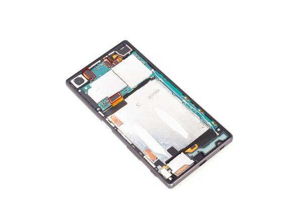 Release rear camera connector, front camera connector, audio jack flex connector and main flex connector on the motherboard and remove the screws there.