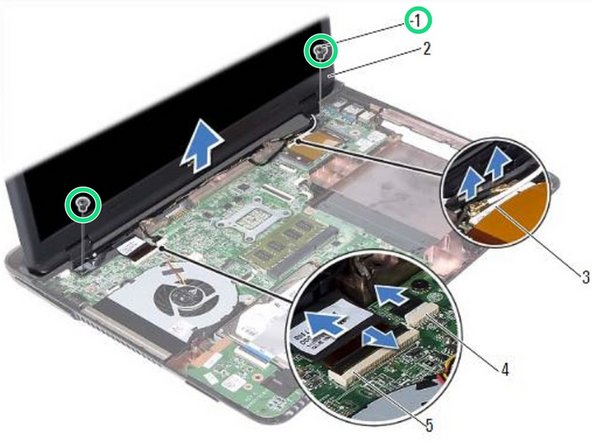 NOTE: Ensure that no cables are caught between the display assembly and the computer base.