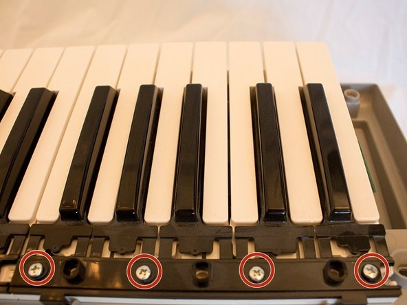 The 61-keys are separated into five groups of 12 keys, five black and seven white, called octaves.  Locate the four screws on the black bracket above your desired octave of keys.