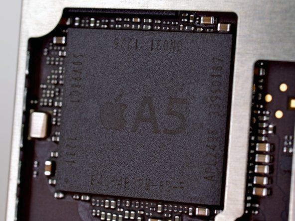 Image 1/3: How do we know? The package markings E4064P3PM-8D-5 indicate the A5 has two 2 Gb, LP DDR2 RAM dies inside, according to [http://www.chipworks.com|Chipworks].
