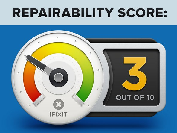 "iMac Intel 21.5"" Retina 4K Display 2017 Repairability Score: 3 out of 10 (10 is easiest to repair)"
