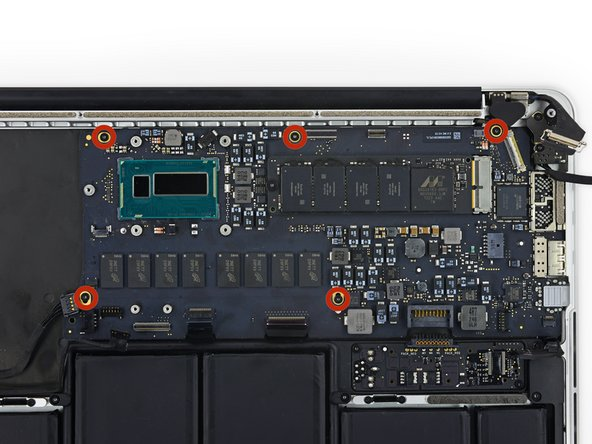 Image 1/1: When reassembling, install all five screws loosely, position the logic board, and then tighten evenly.