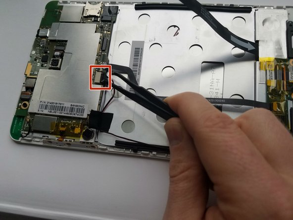 Use tweezers or the flat end of the spudger to carefully pull the connection loose.