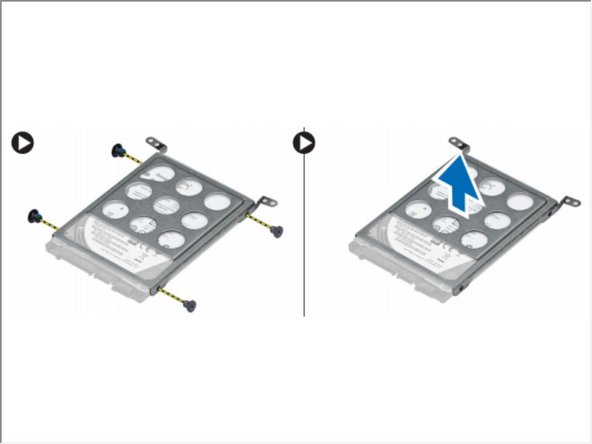 Remove the screws that secure the hard drive to the hard drive assembly.