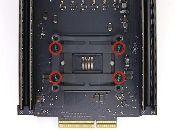 Remove the inner four 12.8 mm T10 Torx screws from the CPU heat sink bracket.