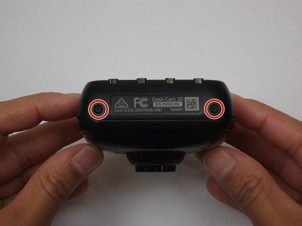 Rotate the Dash Cam to where the product information faces you.