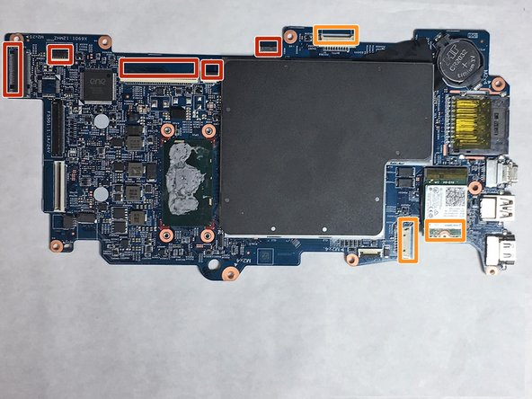 Flip the indicated colored latches with iFixit Opening Tools, then use tweezers to release the cables attached to the motherboard by gently pulling backward.